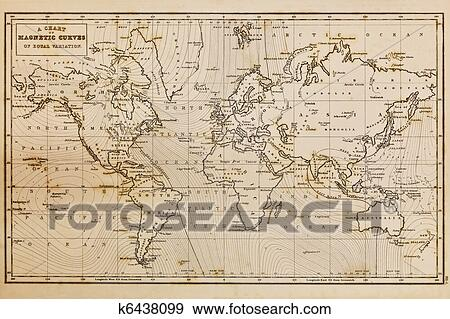 Stock Photograph of Old hand drawn vintage world map k6438099 ...