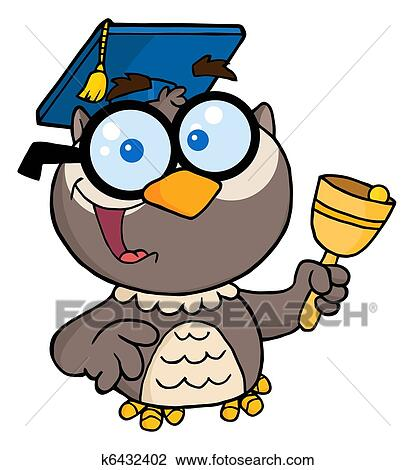 clipart of professor owl ringing a bell k6432402 search clip art rh fotosearch com Math Owl Clip Art Owl Classroom Clip Art
