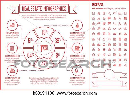 clip art of real estate line design infographic template k30591106