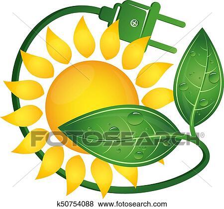 Clip Art - sonne, und, grün, elektrischer stecker k50754088 - Suche ...