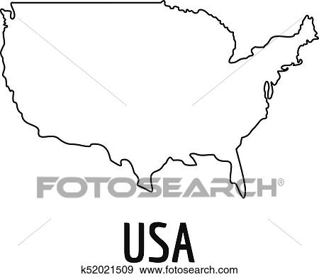 Usa Map Thin Line Vector Simple Clip Art K52021509