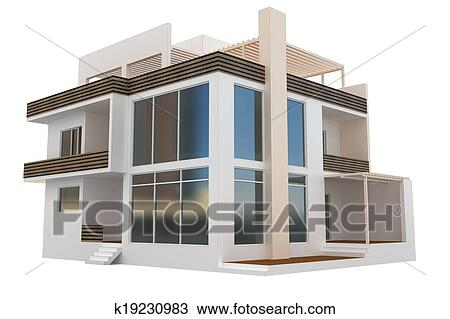 Drawing Of 3d Modern House K19230983 Search Clipart Illustration