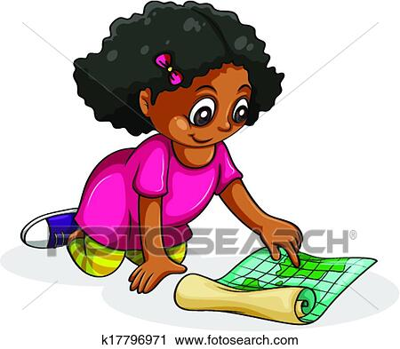 clipart of a black young girl studying k17796971 search clip art rh fotosearch com little girl studying clipart little girl studying clipart