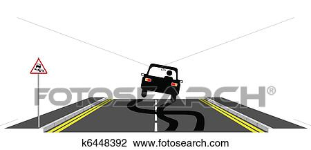 Clipart of Car skidding k6448392 - Search Clip Art, Illustration Murals, Drawings and ...