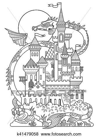 Clip Art - castillo, y, dragón, libro colorear, vector k41479058 ...