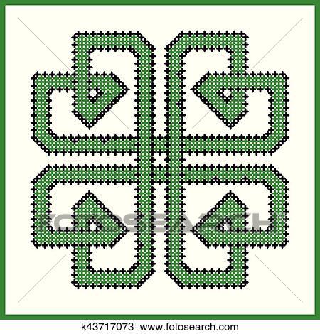 Celtique, interminable, noeud, dans, carrée, trèfle, forme, dans, noir,  vert, croix, point, modèle, blanc, et, arrière-plan noir, inspiré, par,
