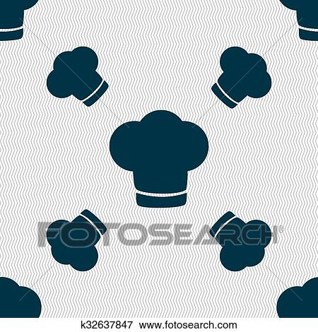4b48603ef0a Chef hat sign icon. Cooking symbol. Cooks hat. Seamless pattern with  geometric texture. illustration