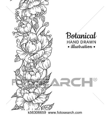 Clip Art Of Floral Seamless Vintage Border Vector Peony And Roses