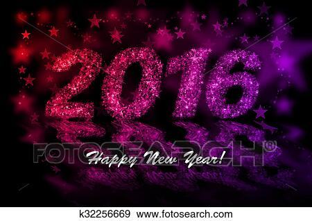 happy new year 2016 red and purple stars background with bokeh effect