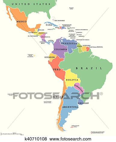Latin America single states map Clip Art