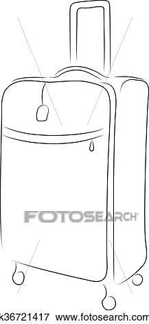 Outline of suitcase, vector illustration Clip Art