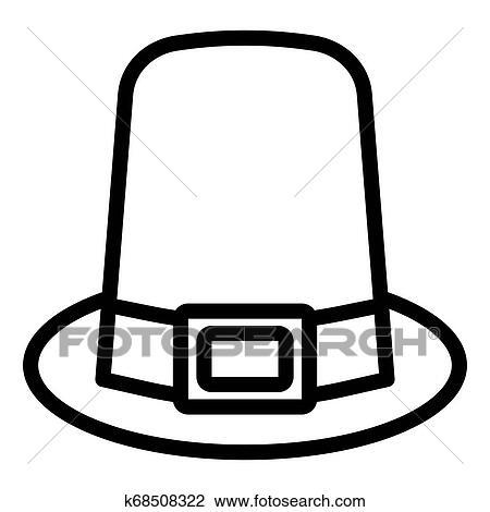 Pilgrim hat line icon. Hat vector illustration isolated on ...