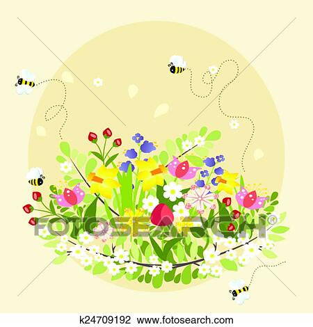 Spring Flowers Lovely Beautiful Bee Cartoon Vector Illustration