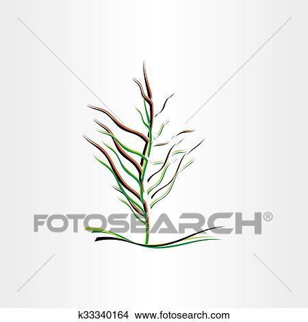 Clipart Stilizzato Albero Vettore Illustrazione Disegno