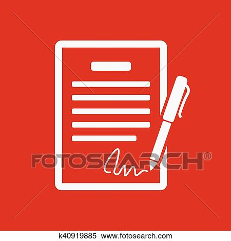 Clipart Of The Contract Icon Agreement And Signature Pact Accord