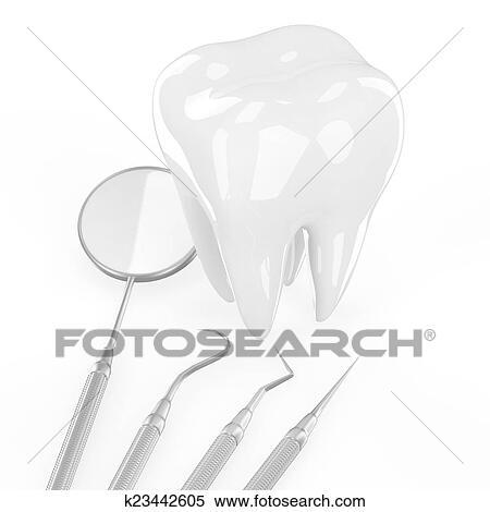 歯科医 道具 そして 歯 イラスト K23442605 Fotosearch
