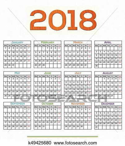 Clipart 12 mes calendario dise o 2018 k49425680 for Clipart calendario