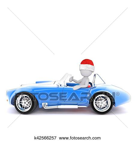 Christmas Sports Car.3d Man In A Red Christmas Hat Driving A Sports Car Stock Illustration