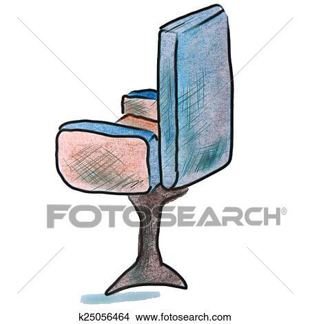 Aquarelle Chaise Bureau Bleu Dessin Anim Figure Isol Fond Blanc