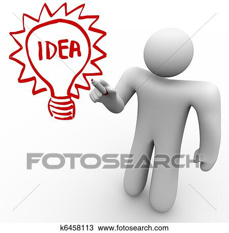 A Person Stands Before Clear Glass Board And Draws Light Bulb With The Word Idea In It As He Brainstorms Thinks Of An Innovation That Solves