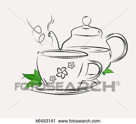 clipart of drawing of tea pot and cup on white k6453141 search
