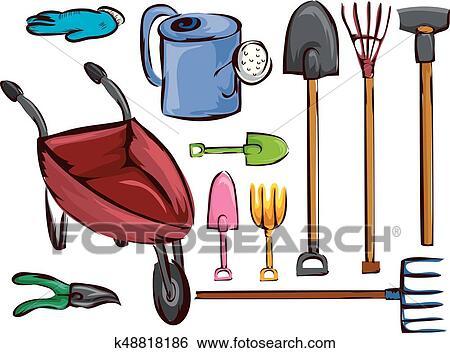 Clip Art Of Farm Garden Tools Elements Illustration K48818186