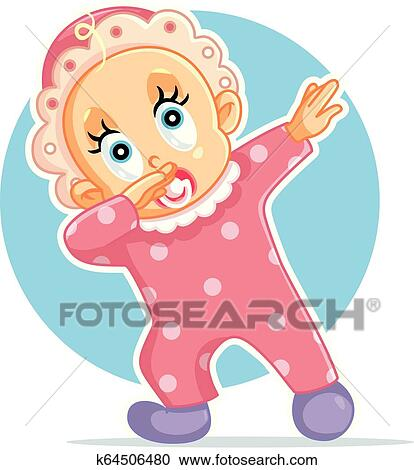 Funny Baby Girl Dabbing Vector Cartoon Clipart K64506480 Fotosearch