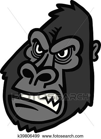 Clip Art Of Gorilla Ape Monkey Face K39806499