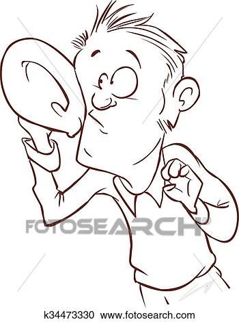 Clipart Of Listening With Hand To Ear Vector Illustration K34473330