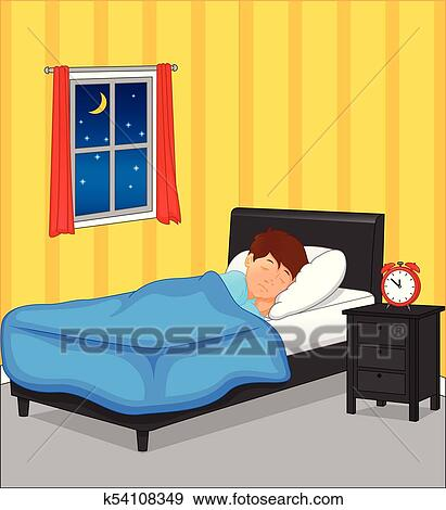 Clip Art Little Boy Sleeping In Bedroom At Night Fotosearch Search Clipart