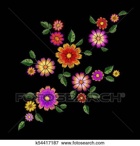 Luminoso Flor Bordado Coloridos Patch Moda Decoracao