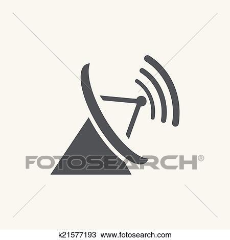 Clipart - parabolisch, antenne, symbol, freigestellt, weiß ...