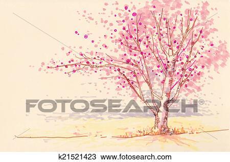 Dibujo Sakura Flor De Cerezo Suave Color Ilustración K21521423