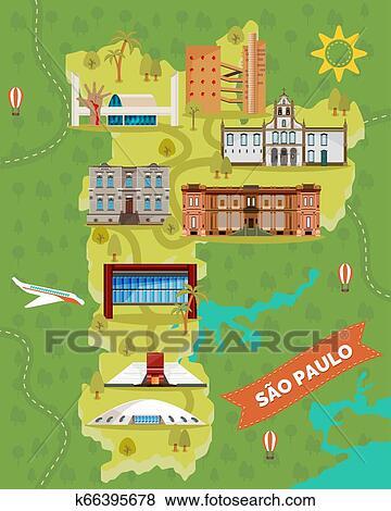 Sao Paulo Landkarte Mit Beruhmt Landmarks Brasilien Orte
