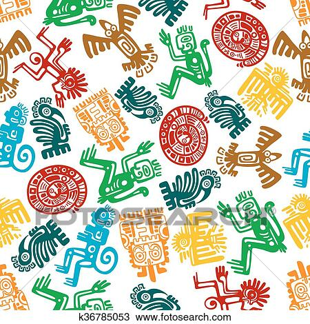 Clipart of Seamless mayan and aztec pattern of animal totems Magnificent Aztec Pattern