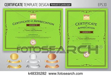 Set Of Certificate Of Appreciation Template With Award