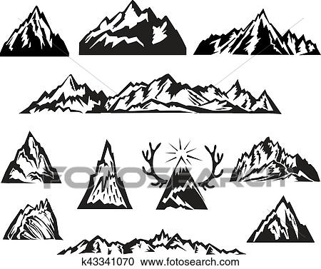 clipart simple noir blanc vecteur montagne ensemble k43341070 recherchez des clip arts. Black Bedroom Furniture Sets. Home Design Ideas