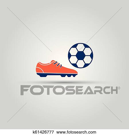 ef2b8189620 Soccer shoes and ball isolated vector colored icon or sign. k61426777