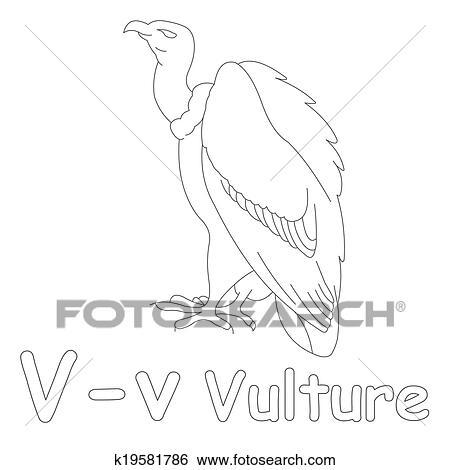V for Vulture Coloring Page Stock Illustration