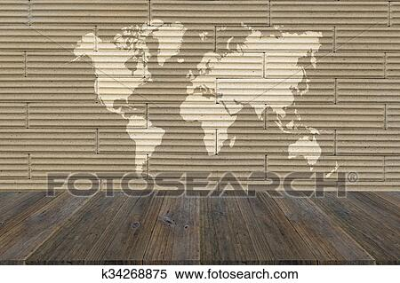 Wall texture surface with Wood terrace and world map Stock ...