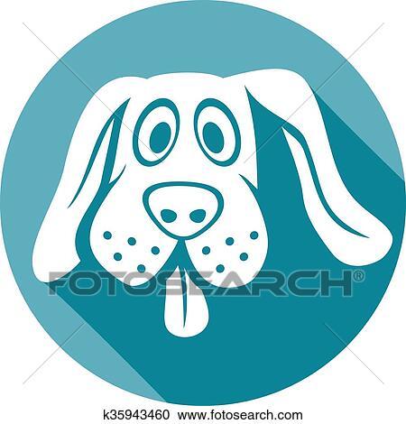 犬 顔 平ら アイコン クリップアート切り張りイラスト絵画集
