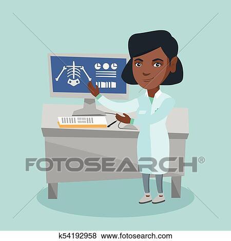 Clip Art - africano, radiólogo, doctor, examinar, radiograph ...