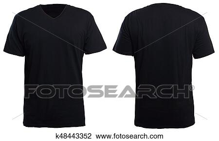 40baee5ac6f22f Blank v-neck shirt mock up template, front and back view, isolated on white,  plain t-shirt mockup. V Neck tee design presentation for print.