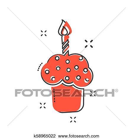 Peachy Cartoon Birthday Cake Icon In Comic Style Fresh Pie Muffin Sign Funny Birthday Cards Online Kookostrdamsfinfo