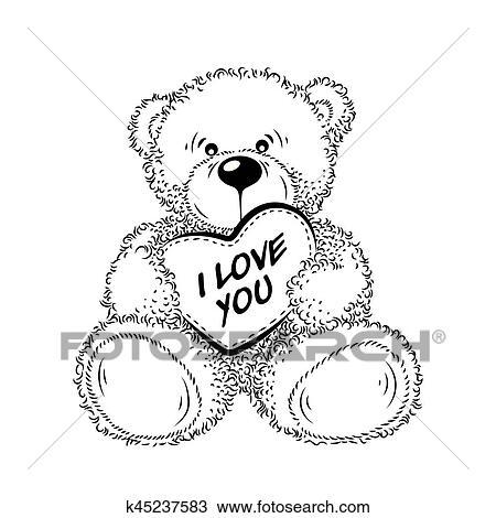 Dessin ours peluche coeur clipart k45237583 fotosearch - Dessin nounours avec coeur ...