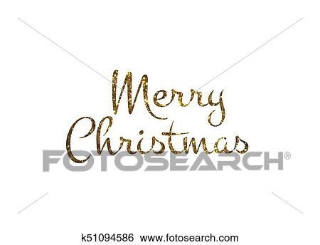 Merry Christmas Writing.Golden Glitter Isolated Hand Writing Word Merry Christmas Clip Art