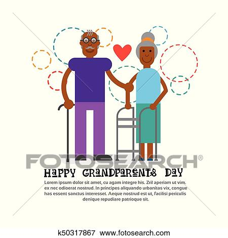 Clip art of grandparents couple together happy grandmother and clip art grandparents couple together happy grandmother and grandfather day greeting card banner fotosearch m4hsunfo