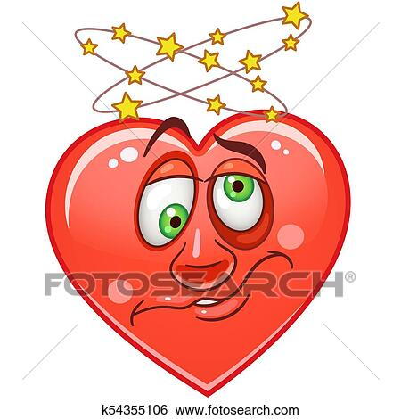 Clip Art Of Heart Emoticons Smiley Emoji K54355106 Search Clipart