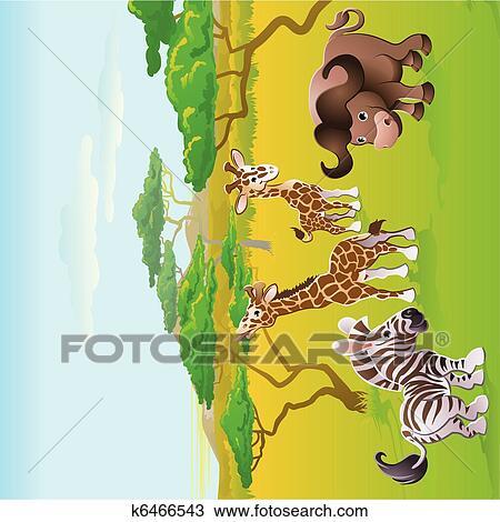 Clipart carino africano safari animale cartone - Animale cartone animato immagini gratis ...