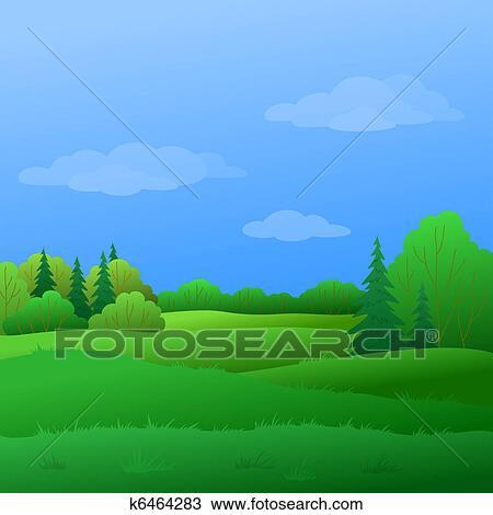 Paisagem Verao Floresta Desenho K6464283 Fotosearch
